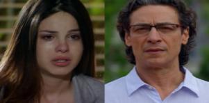 Alice chorando em A Vida da Gente e Renato preocupado