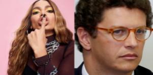 Anitta com o dedo na boca; Ricardo Salles pensativo