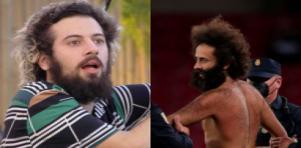 Cartolouco (à esquerda) e homem que invadiu campo (à direita) em foto montagem