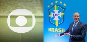 Logotipo da Globo (à esquerda) e Rogério Caboclo (à direita) em foto montagem