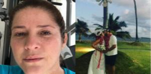 Christiane Pelajo fazendo exercício físico (à esquerda) e se casando em 2017 (à direita)