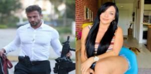 Montagem do policial civil  Erik Becker segurando uma arma e a assistente de Ratinho, Rhenata Schimdt sentada em uma cadeira