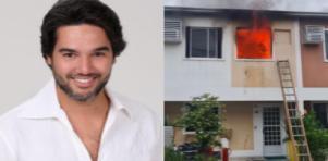 Fernando Sampaio posado; casa do ator pegando fogo