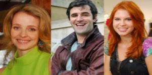 Montagem com Camila, Chico e Madu, personagens de Ti Ti Ti