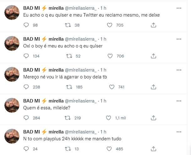 """A Fazenda 2021: Mirella ataca Mileide nas redes sociais: \""""Quem é essa?\"""""""