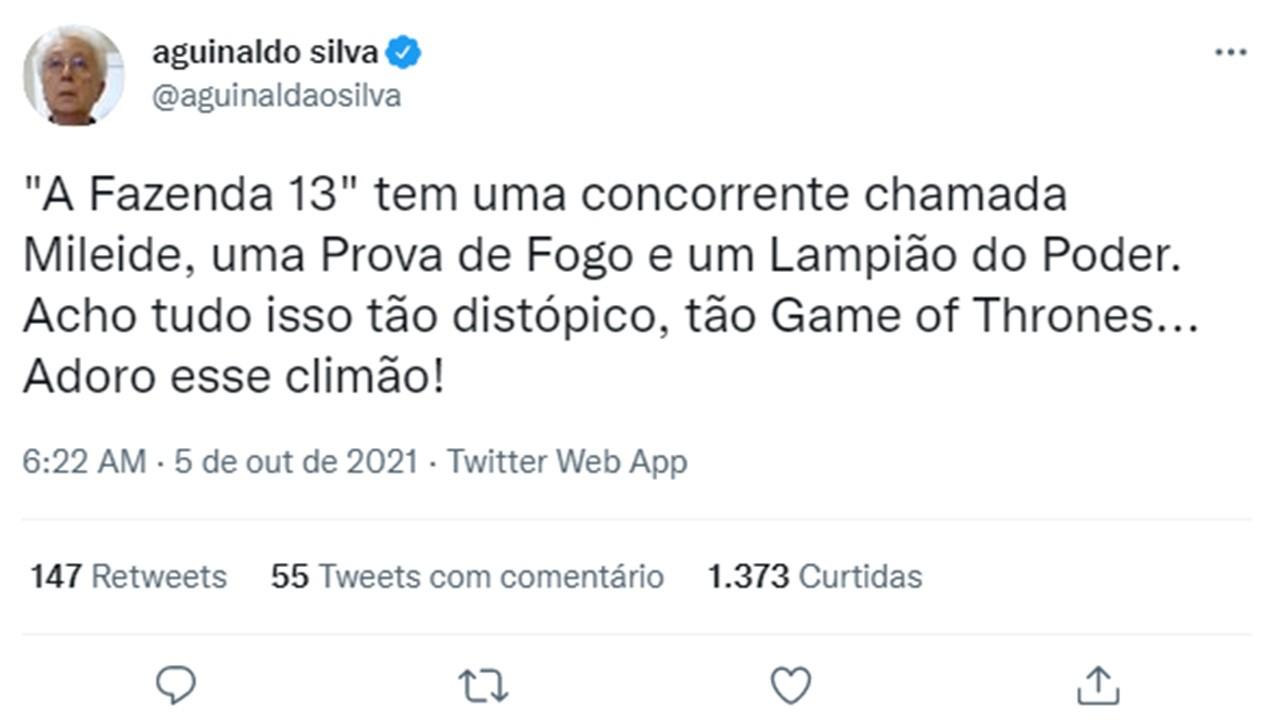 """Aguinaldo Silva elogia A Fazenda 2021: \""""Adoro esse climão\"""""""