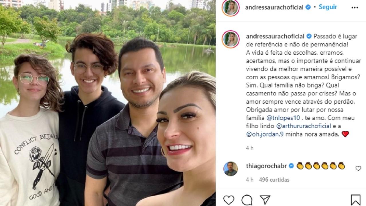 """Andressa Urach confirma retomada no casamento: \""""Que família não briga?\"""""""