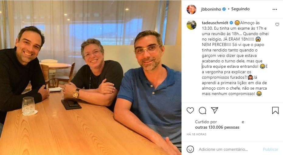 """Tadeu Schmidt perde exame após reunião com Boninho: \""""Aprendi a primeira lição\"""""""