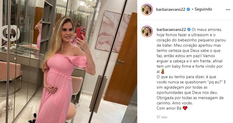 """Bárbara Evans conta que perdeu um dos bebês que espera: \""""Coraçãozinho parou\"""""""