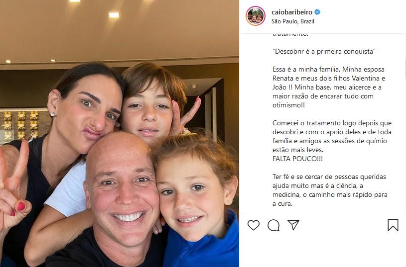 """Caio Ribeiro conscientiza fãs sobre câncer e fala da sua recuperação: \""""Falta pouco\"""""""