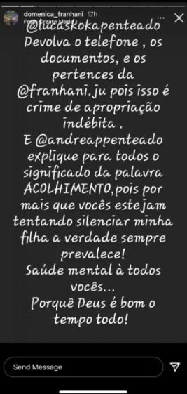 """Ex-sogra faz acusação contra Lucas Penteado: \""""Isso é crime\"""""""