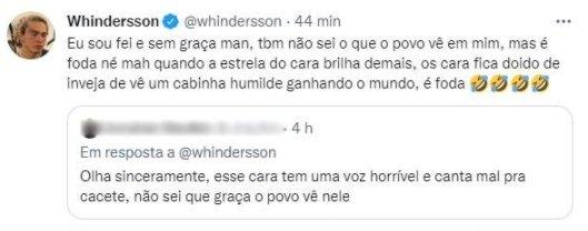"Whindersson Nunes rebate comentário de seguidor: \""Inveja\"""