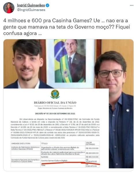 """Ingrid Guimarães alfineta Mário Frias após polêmica com a Lei Paulo Gustavo: \""""Fiquei confusa\"""""""