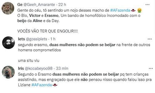 A Fazenda 2021: Erasmo Viana e Victor são acusados de bifobia após críticas a Aline Mineiro