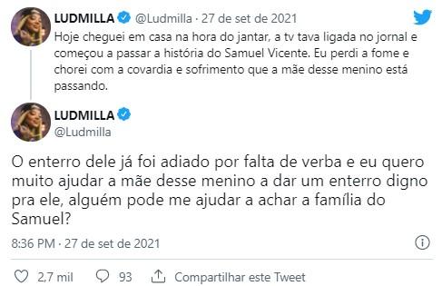"""Ludmilla ajuda a pagar funeral de jovem morto em ação da polícia: \""""Chorei\"""""""