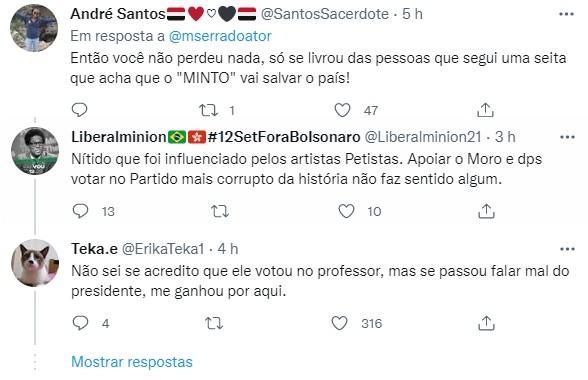 "Marcelo Serrado revela que perdeu seguidores após se declarar contra Bolsonaro: \""Alívio\"""