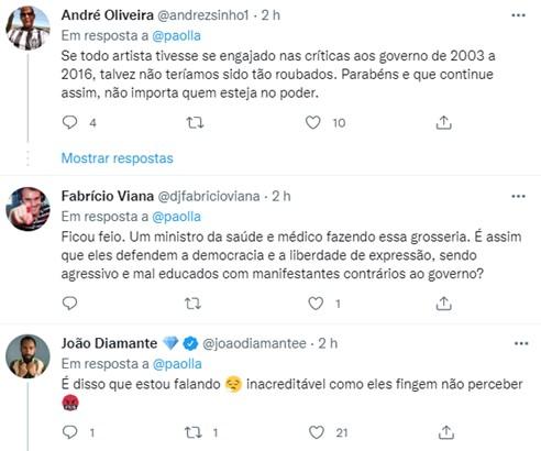 "Paolla Oliveira critica Ministro da Saúde após gesto obsceno: \""Falta educação\"""