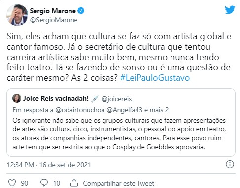 Sérgio Marone volta a alfinetar Mário Frias sobre projeto da Lei Paulo Gustavo