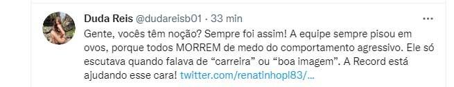 """A Fazenda 2021: Duda Reis esculacha Record por causa de Nego do Borel: \""""Está ajudando\"""""""