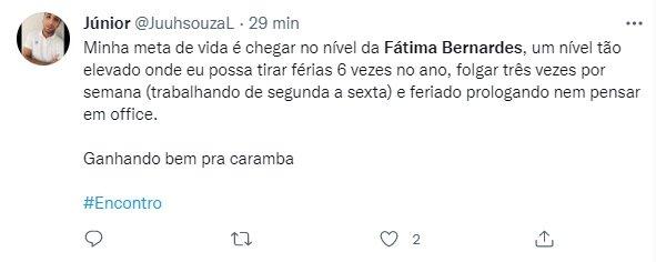 """Fátima Bernardes se ausenta do Encontro e vira piada na web: \""""Meta de vida\"""""""