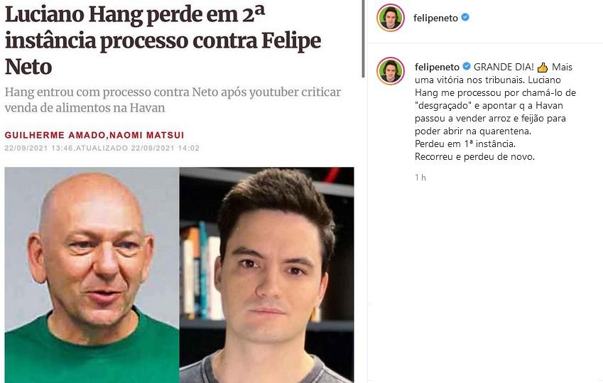 """Dono da Havan perde processo contra Felipe Neto: \""""Grande dia\"""""""