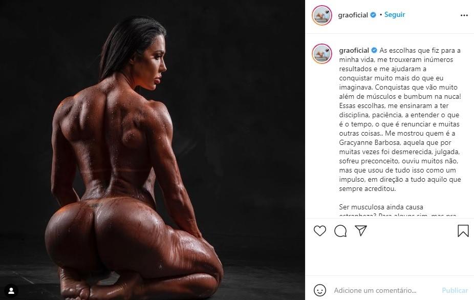 "Gracyanne Barbosa fala sobre escolha em ser musculosa: \""Empatia e respeito\"""