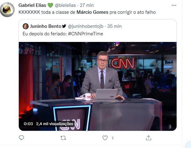 Márcio Gomes comete gafe na abertura de programa da CNN ao vivo