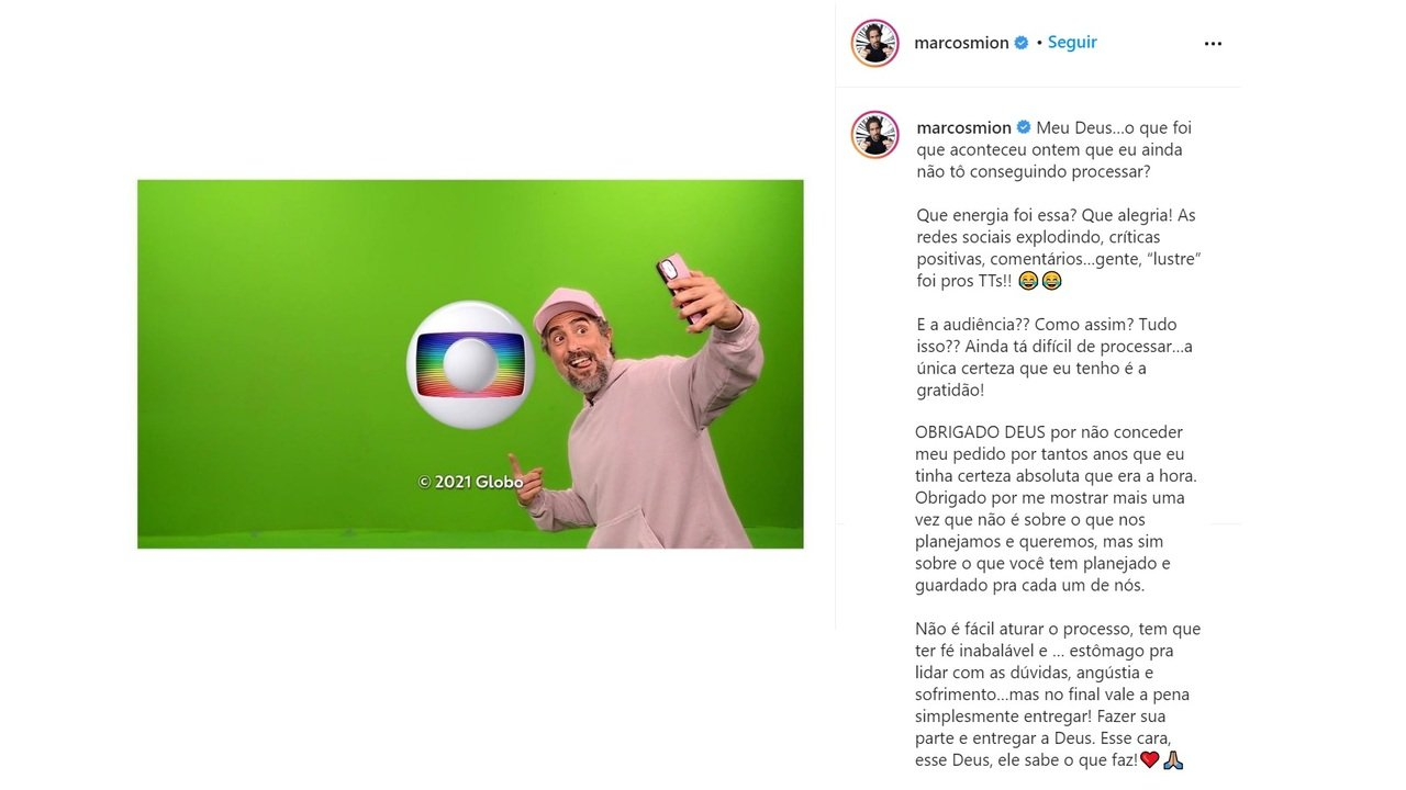 """Marcos Mion comemora estreia na Globo: \""""Não tô conseguindo processar\"""""""