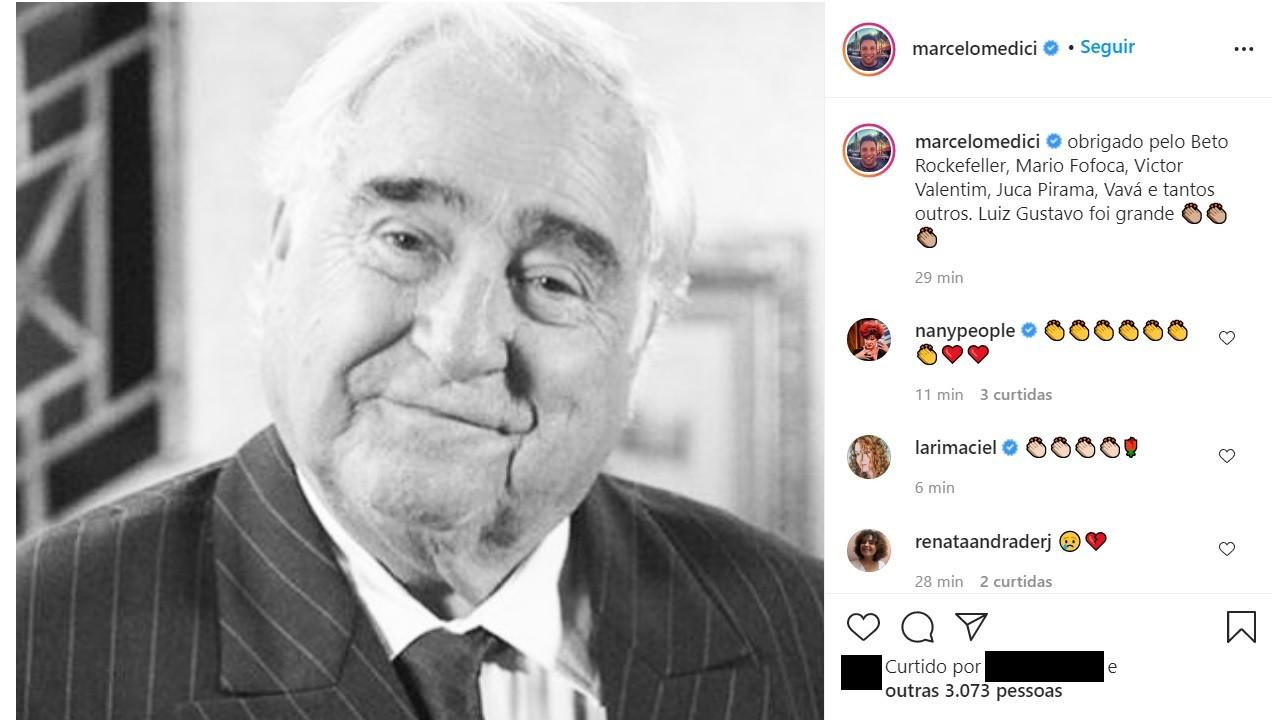 """Famosos lamentam morte de Luis Gustavo, aos 87 anos: \""""Ídolo\"""""""