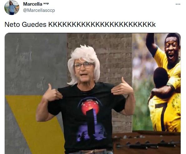 """Neto apresenta programa de peruca loira após vitória do Corinthians: \""""Estou linda\"""""""