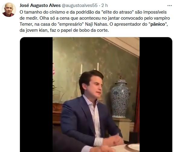 André Marinho se justifica após ser flagrado imitando Bolsonaro em jantar com Temer