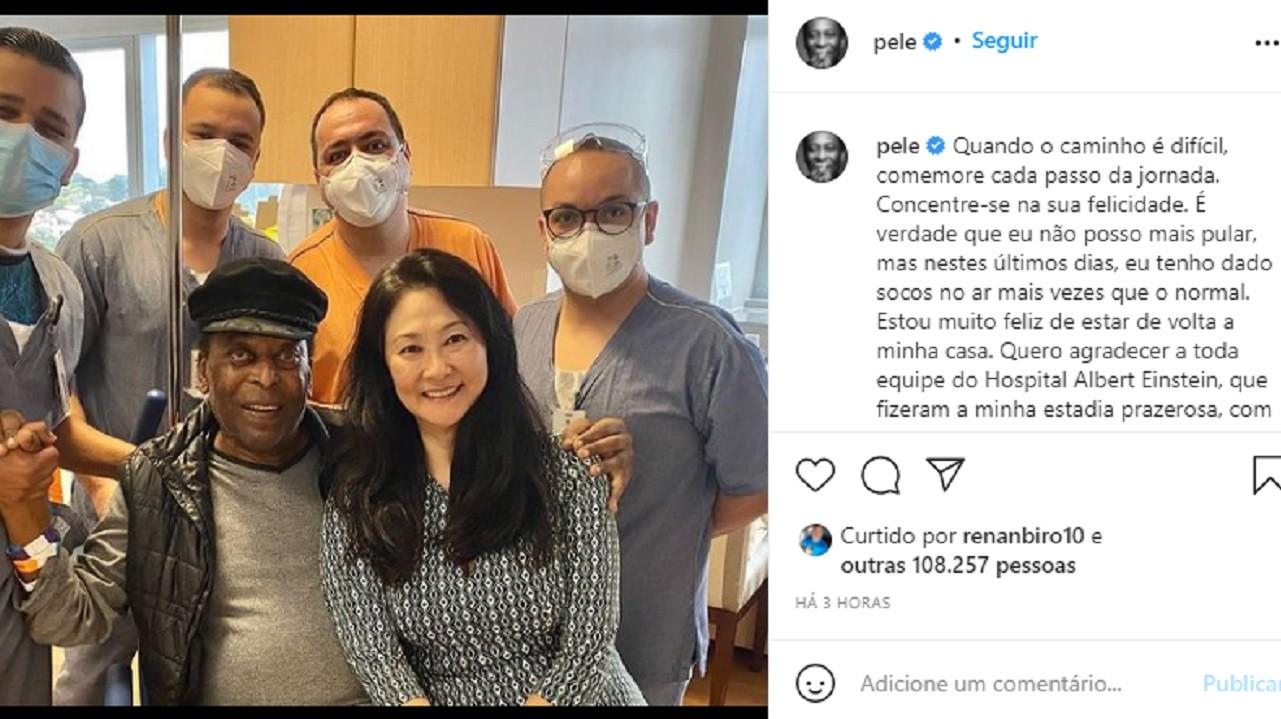 Após quase um mês internado, Pelé tem alta, mas fará quimioterapia