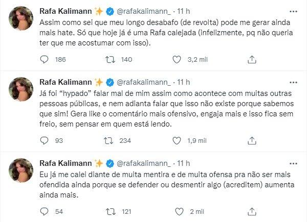 "Rafa Kalimann relata crises de pânico por haters: \""Vontade de desistir\"""