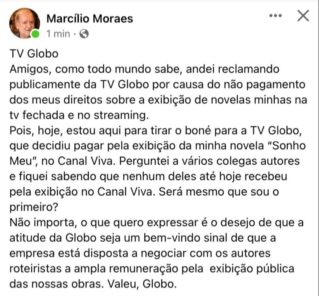 Marcílio Moraes recebe valor por Sonho Meu após reclamar da Globo