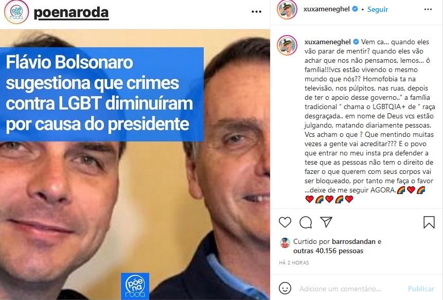 Xuxa sai em defesa dos LGBTQIA+ e detona Bolsonaro