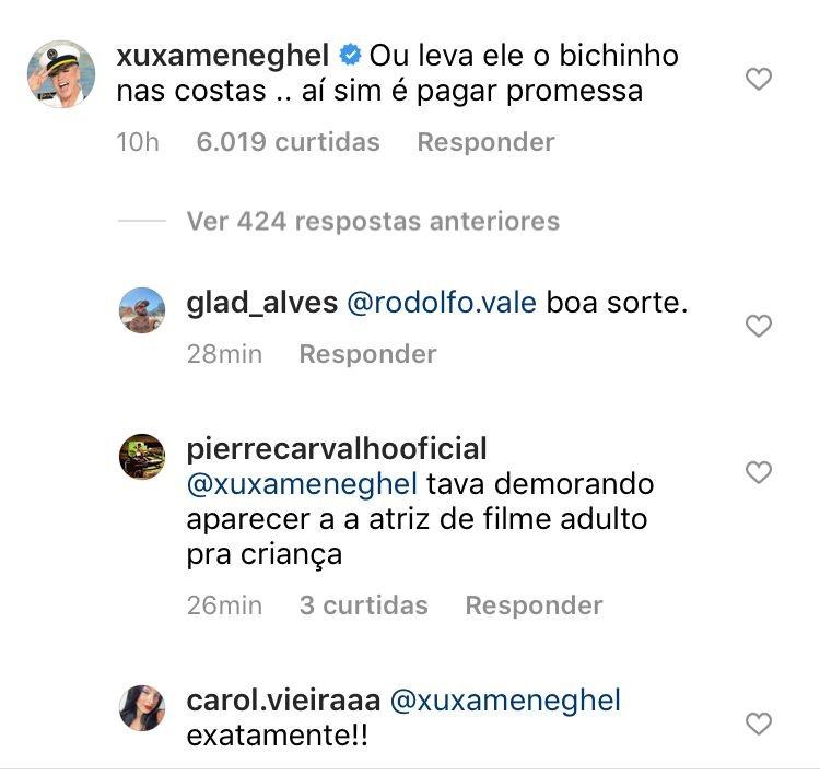 "Xuxa ironiza Zé Neto por usar burro para promessa: \""Leva ele nas costas\"""