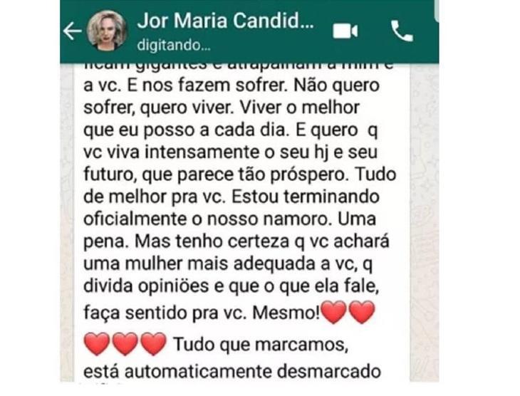 "Após término de namoro ser exposto na web, Maria Cândida declara: \""Fora do jogo\"""