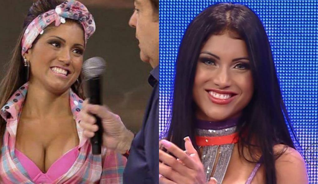 Montagem de fotos com a ex-bailarina do Domingão do Faustão sendo entrevistada pelo apresentador e sorridente olhando para a foto