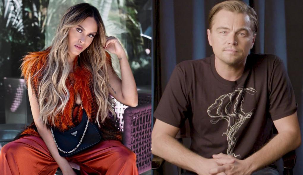 Montagem com fotos da ex-BBB Sarah Andrade posando para foto sentada e o ator Leonardo DiCaprio sério sentado