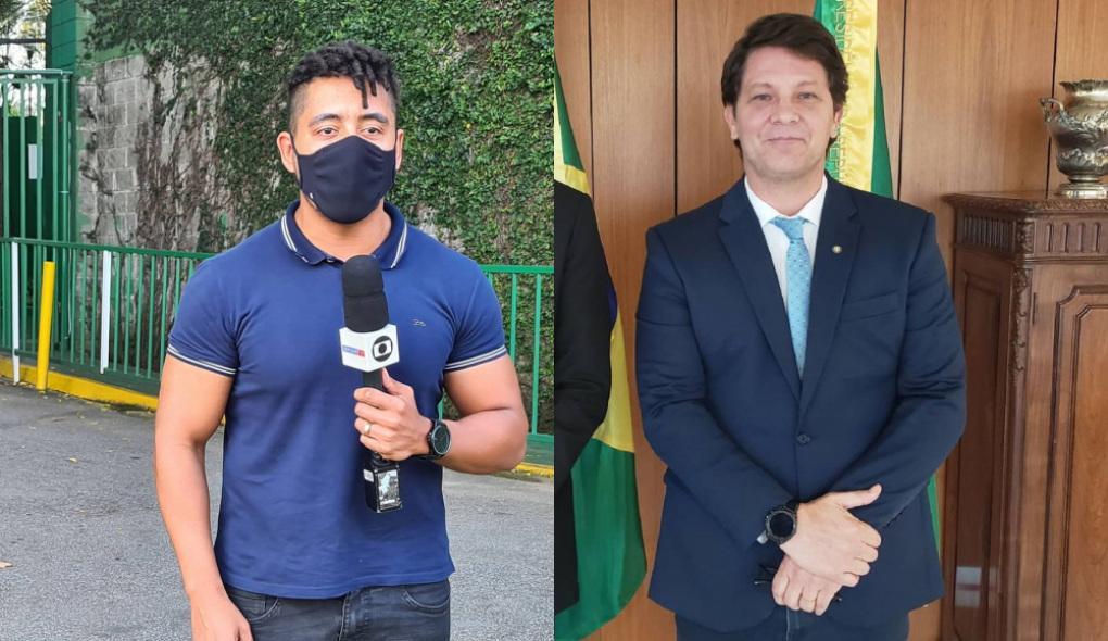 Montagem com foto do repórter da Globo Luiz Teixeira segurando o microfone da emissora e de máscara de proteção e  do atual secretário da cultura, Mário Frias de terno, gravata e mãos cruzadas