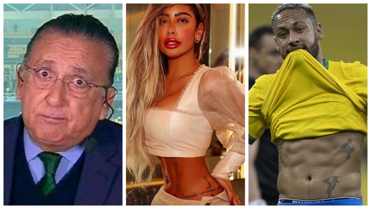 Galvão Bueno, Rafaella Santos e Neymar