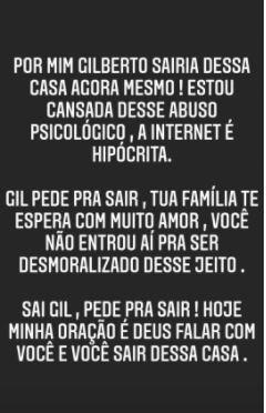 """BBB21: Irmã pede que Gilberto desista do reality: """"Abuso psicológico"""""""