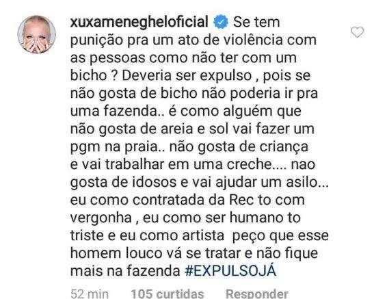 Xuxa pede expulsão de participante de A Fazenda 2019 por agressão e Record toma decisão