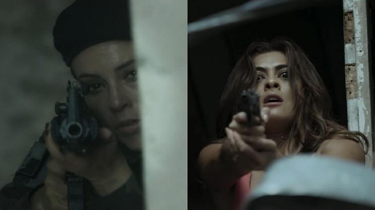 Montagem de foto com cena de A Força do Querer, com Jeiza e Bibi segurando armas