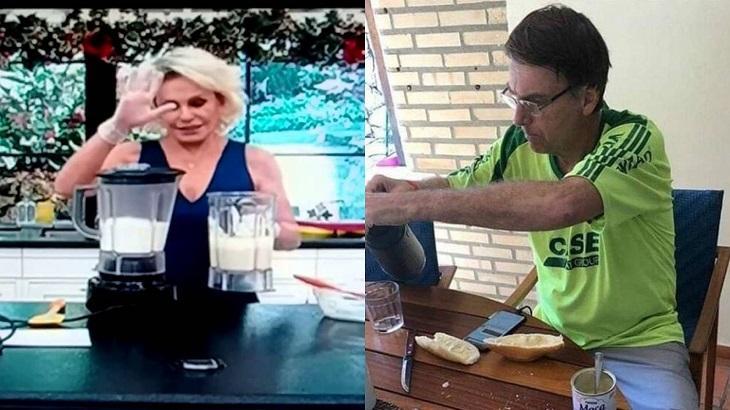 Montagem de foto com Ana Maria usando um liquidificador e de Jair Bolsonaro sentado colocando café num copo