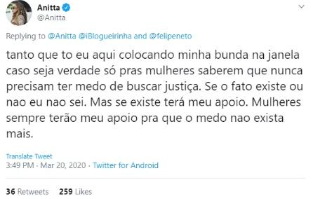 "Anitta explica possível motivo das indiretas de Felipe Neto para Pyong: \""Abusivo\"""