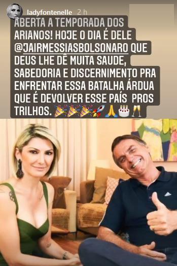 Famosos bolsonaristas parabenizam Jair Bolsonaro por seu aniversário