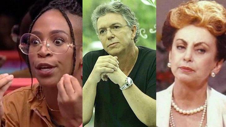 Montagem com Karol conká, do BBB21, Boninho e Odete Roitman, de Vale Tudo