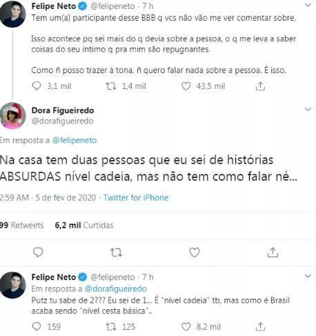 Felipe Neto diz saber história de participante do BBB20 que daria cadeia
