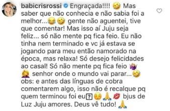 """Babi Rossi detona Juju Salimeni em rede social: \""""Estava se jogando para meu então namorado\"""""""